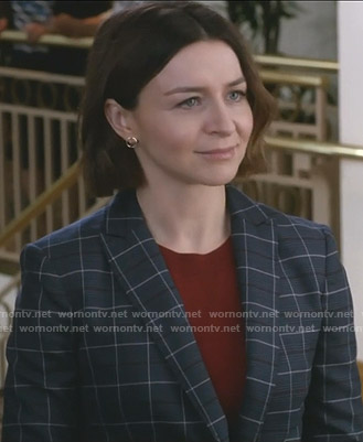 Amelia's navy checked blazer on Grey's Anatomy