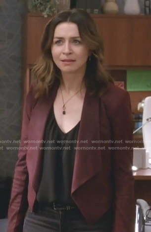 Amelia's red suede shawl collar jacket on Grey's Anatomy