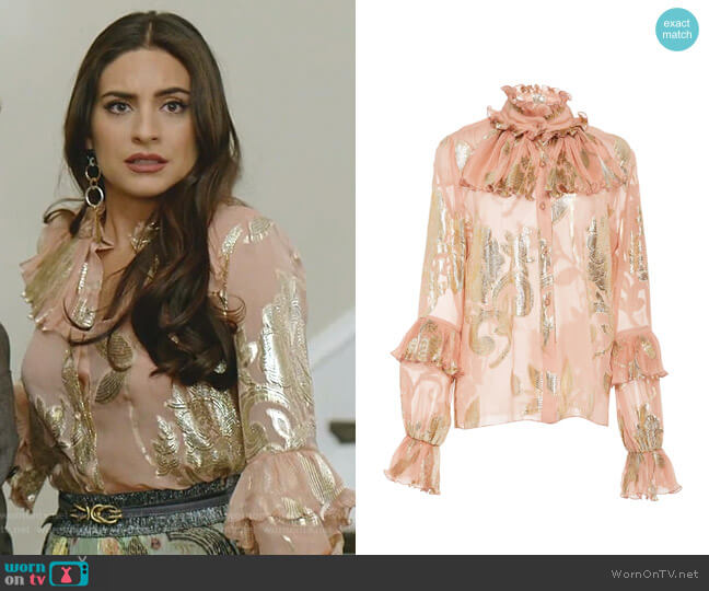 Beloved Metallic Jacquard Top by Anna Sui worn by Cristal Jennings (Daniella Alonso) on Dynasty