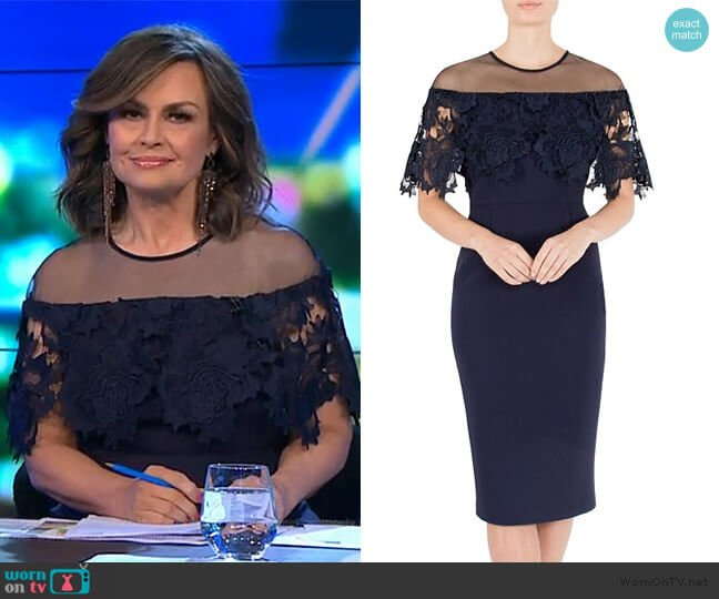 Navy Crepe & Lace Dress by Anthea Crawford worn by Lisa Wilkinson (Lisa Wilkinson) on The Project