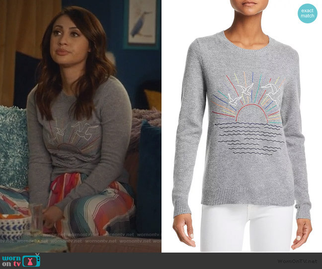 Sunset-Embroidered Cashmere Sweater by Aqua Cashmere worn by Ana Torres (Francia Raisa) on Grown-ish