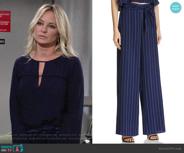 Aqua Stripe Tie Waist Wide Leg Pants worn by Sharon Collins (Sharon Case) on The Young & the Restless