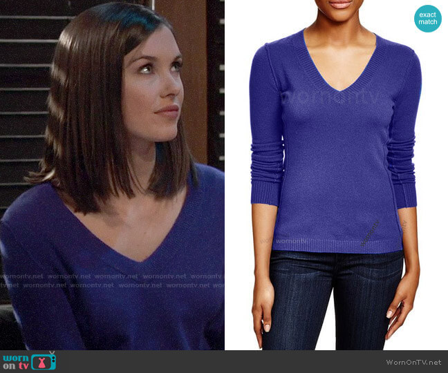 Aqua V-neck Cashmere Sweater worn by Willow Tait (Katelyn MacMullen) on General Hospital