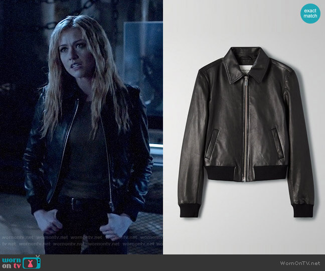Aritzia Babaton Lou Leather Jacket worn by Mia Smoak (Katherine McNamara) on Arrow