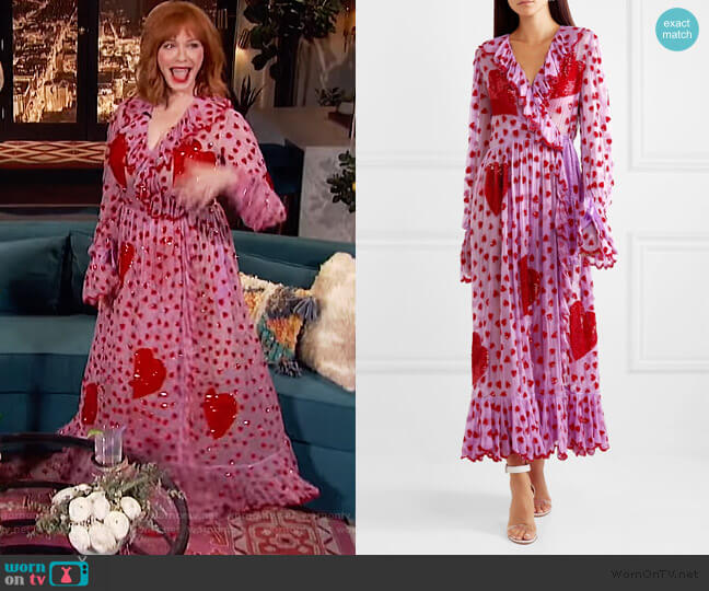 Ruffled embellished chiffon wrap maxi dress by Ashish worn by Christina Hendricks on Busy Phillips