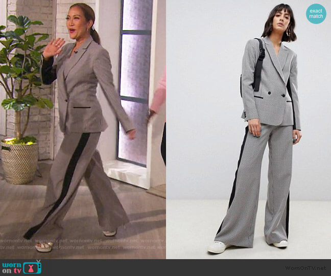 Check suit blazer and pants with contrast side stripe by ASOS worn by Carrie Inaba (Carrie Inaba) on The Talk