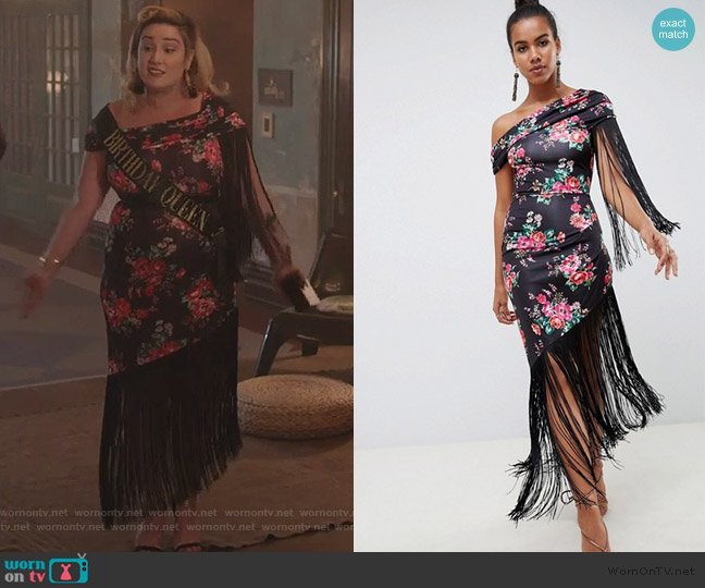 Slinky Fringe Midi Dress in Floral Print by ASOS worn by Emma Hunton on Good Girls worn by Davia (Emma Hunton) on Good Trouble