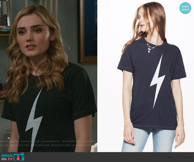 Bolt Crew Tee Shirt by Aviator Nation worn by Taylor Otto (Meg Donnelly) on American Housewife