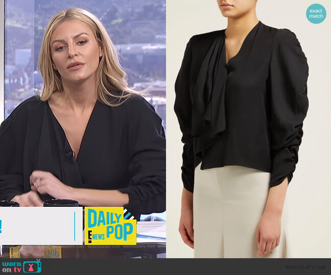 ruched sleeve top by A.W.A.K.E worn by Morgan Stewart  on E! News