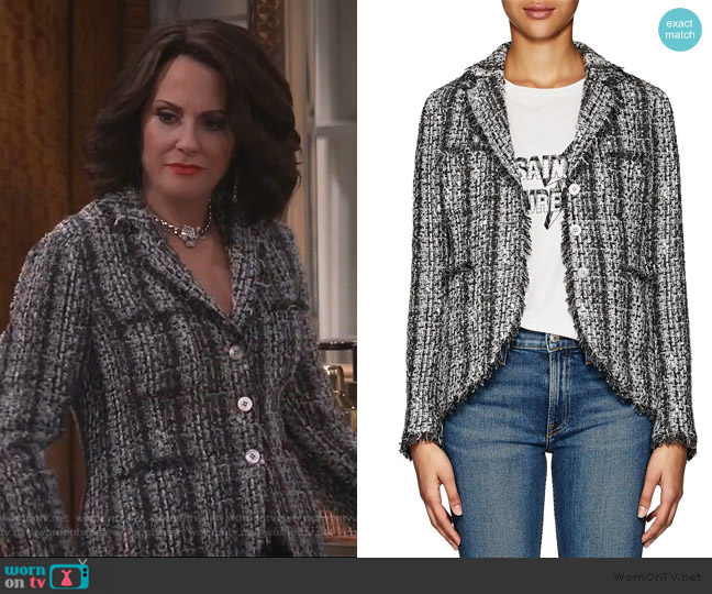 Frayed-Edge Tweed Jacket by Barneys New York worn by Karen Walker (Megan Mullally) on Will & Grace