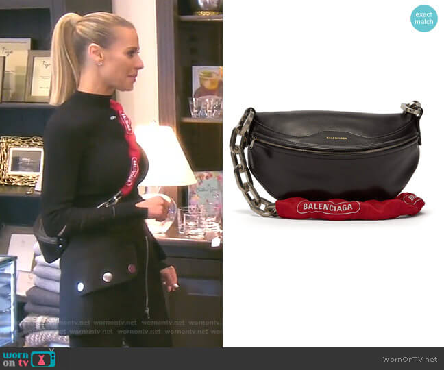 Souvenir Xs Bike-chain Leather Bag by Balenciaga worn by Dorit Kemsley  on The Real Housewives of Beverly Hills