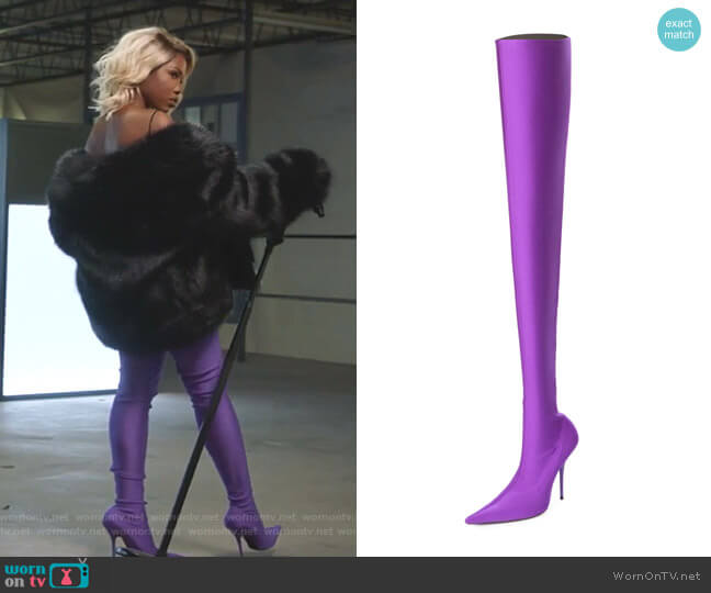Stretch Pointed-Toe Over-the-Knee Boot by Balenciaga worn by Alexandra Crane (Ryan Destiny) on Star