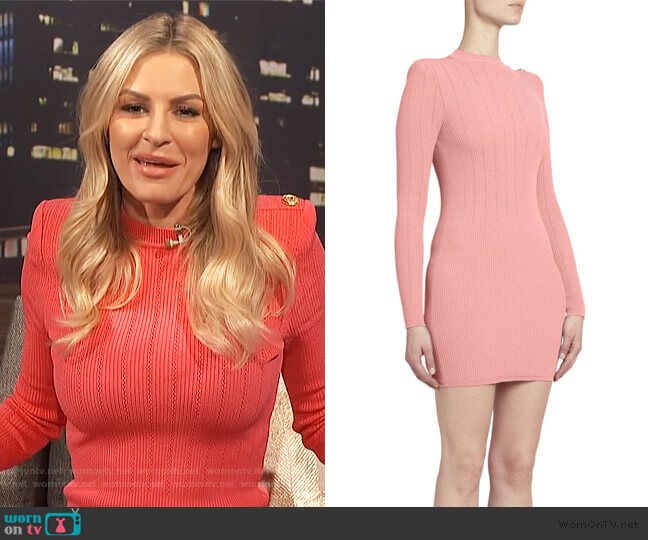Long Sleeve Ribbed Sweater Dress by Balmain (exact color not online) worn by Morgan Stewart  on E! News