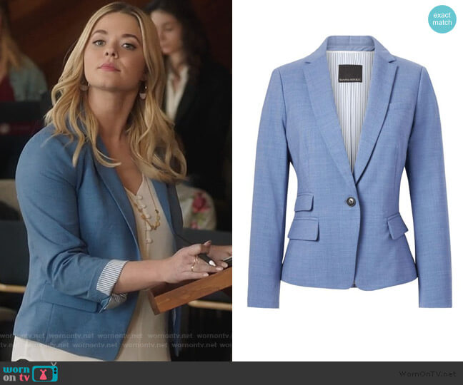 Fitted Crop Lightweight Wool Blazer by Banana Republic worn by Alison DiLaurentis (Sasha Pieterse) on PLL The Perfectionists