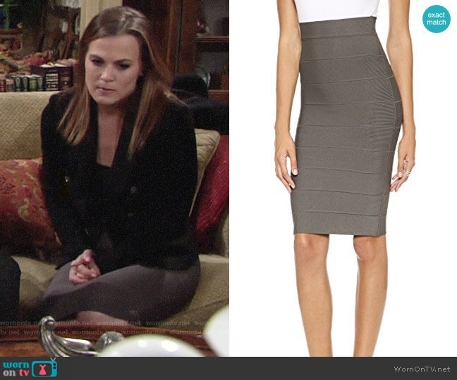 Bcbgmaxazria Leger Skirt in Dark Fatigue worn by Phyllis Newman (Gina Tognoni) on The Young & the Restless