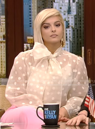 Bebe Rexha's polka dot sheer blouse on Live with Kelly and Ryan