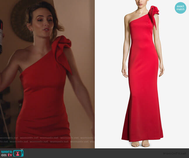 One-Shoulder Ruffled Scuba Gown by Betsy & Adam worn by Angie (Leighton Meester) on Single Parents