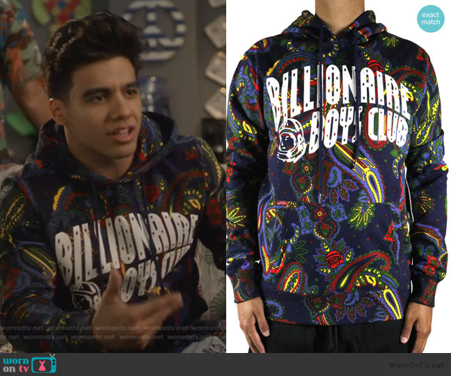Paisley Arch Hoodie by Billionaire Boys Club worn by Vivek Shah (Jordan Buhat) on Grown-ish