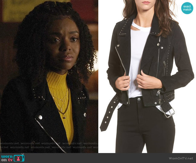 Blank NYC Studded Suede Moto Jacket worn by Josie McCoy (Ashleigh Murray) on Riverdale