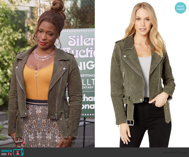 Suede Moto Jacket in Herb by Blank NYC worn by Poppy (Kimrie Lewis) on Single Parents