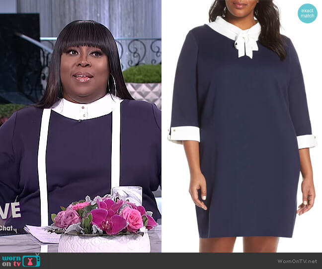 Bow Neck Shift Dress by Ming Wang worn by Loni Love (Loni Love) on The Real