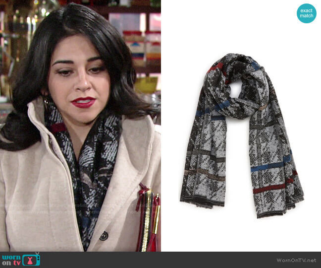 Bp. Stripe Houndstooth Scarf worn by Mia Rosales (Noemi Gonzalez) on The Young & the Restless