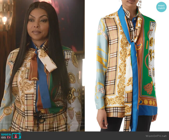 Shelduck Archive Scarf-Print Tie-Neck Mulberry Silk Blouse by Burberry worn by Cookie Lyon (Taraji P. Henson) on Empire