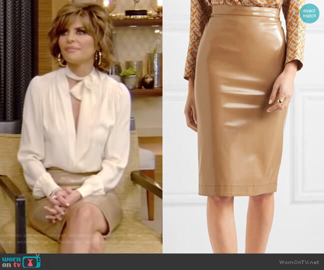 Burberry Vinyl Midi Skirt worn by Lisa Rinna on Live with Kelly and Ryan