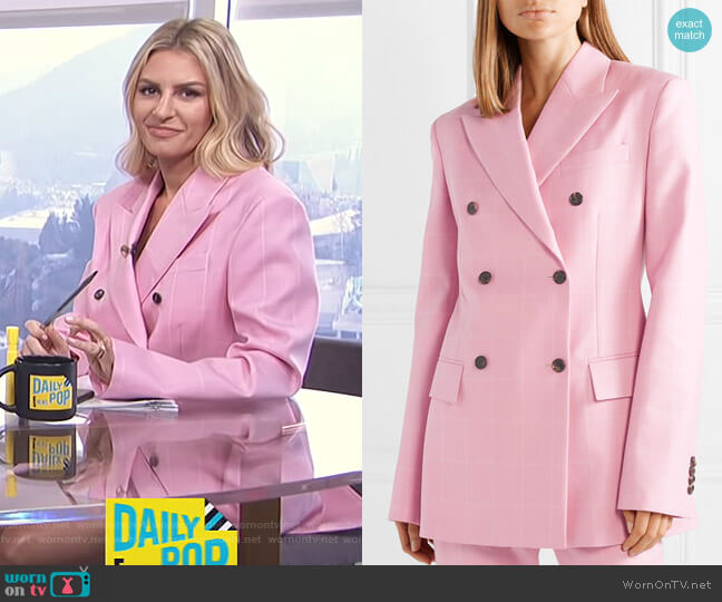 Oversized Double-Breasted Checked Wool Blazer by Calvin Klein 205W39NYC   worn by Morgan Stewart  on E! News