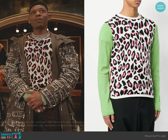 Animal Print Knit Sweater by Comme Des Garçons Homme Plus worn by Hakeem Lyon (Bryshere Y. Gray) on Empire