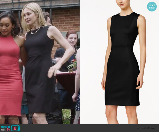Scuba Crepe Sheath Dress by Calvin Klein worn by Clair Hotchkiss (Kelly Rutherford) on PLL The Perfectionists