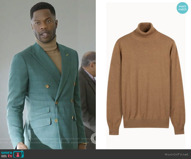 Camel Turtleneck by Suitsupply worn by Jeff Colby (Sam Adegoke) on Dynasty