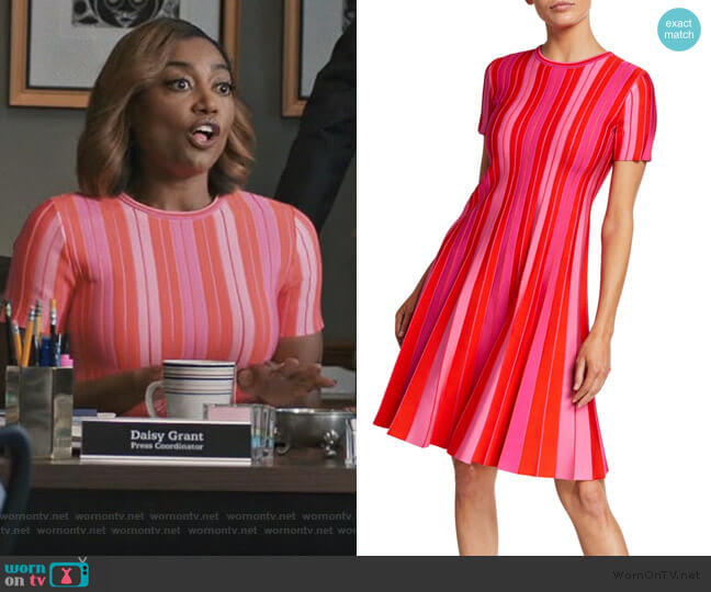 Pleated Striped Dress by Carolina Herrera worn by Daisy Grant (Patina Miller) on Madam Secretary