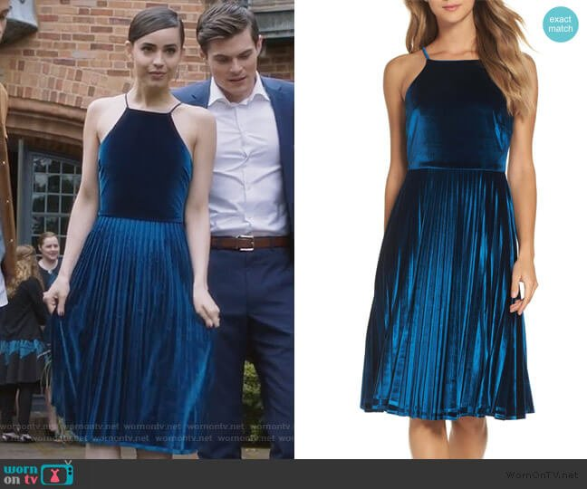 Pleated Velvet Fit & Flare Dress by Chelsea28 worn by Ava Jalali (Sofia Carson) on PLL The Perfectionists