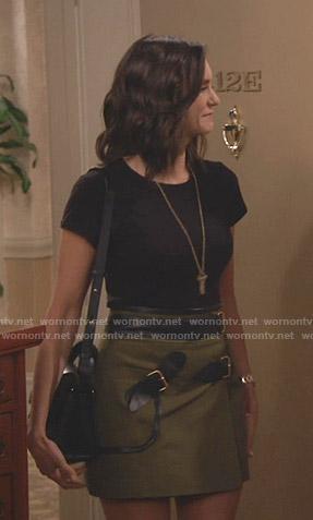 Clem's khaki belted mini skirt on Fam