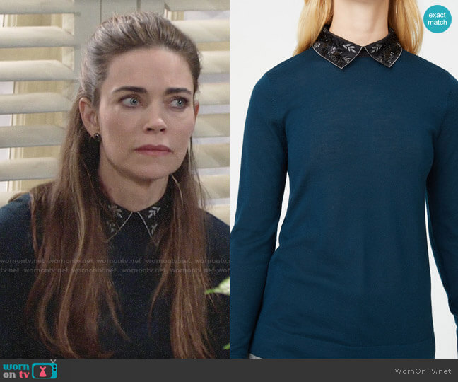 Club Monaco Onalee Sweater worn by Victoria Newman (Amelia Heinle) on The Young & the Restless