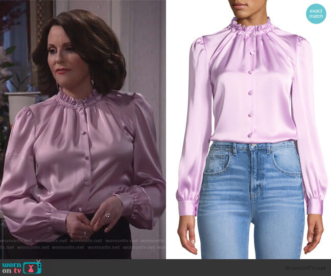 Cinched-Neck Long-Sleeve Satin Blouse by Co worn by Karen Walker (Megan Mullally) on Will & Grace