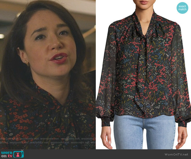 Long-Sleeve Tie-Neck Floral-Print Silk Chiffon Blouse by Co worn by Marissa Gold (Sarah Steele) on The Good Fight