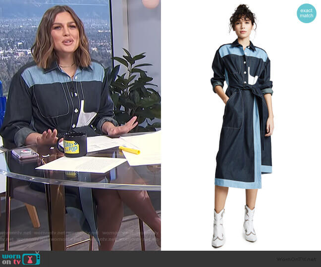 Belted Two Tone Shirtdress by Colovos worn by Carissa Loethen Culiner (Carissa Loethen Culiner) on E! News