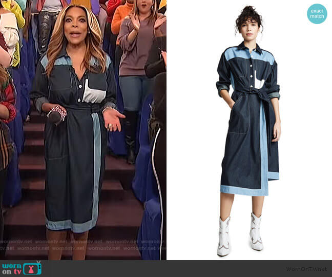 Belted Two Tone Shirtdress by Colovos worn by Wendy Williams  on The Wendy Williams Show
