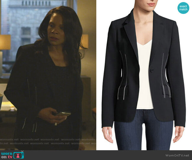 Compact Crepe Blazer Jacket by Jason Wu  worn by Liz Reddick-Lawrence (Audra McDonald) on The Good Fight