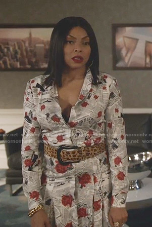 Cookie's newspaper and rose print shirtdress on Empire