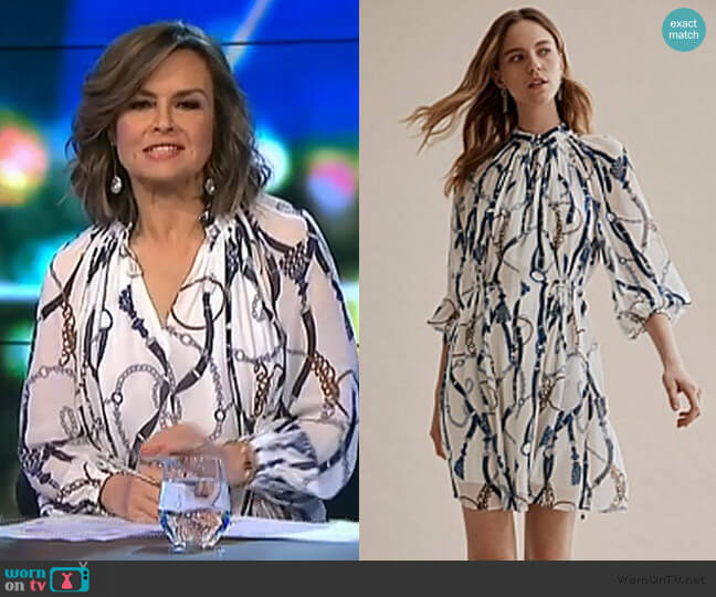 Print Gathered Mini Dress by Country Road worn by Lisa Wilkinson  on The Project