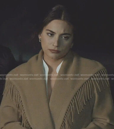 Cristal's beige fringe-trim coat on Dynasty
