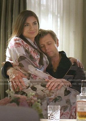 Cristal's grey rose print robe on Dynasty