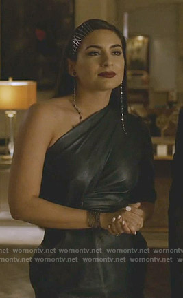 Cristal's one shoulder leather dress on Dynasty