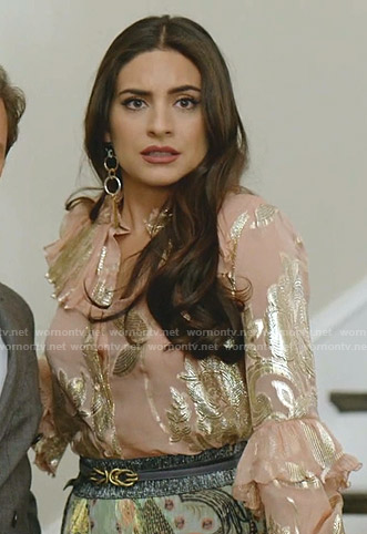 Cristal's metallic ruffle blouse on Dynasty