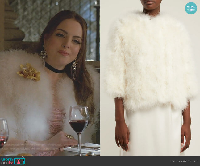 Cropped Feather-Embellished Jacket Yves Salomon worn by Fallon Carrington (Elizabeth Gillies) on Dynasty