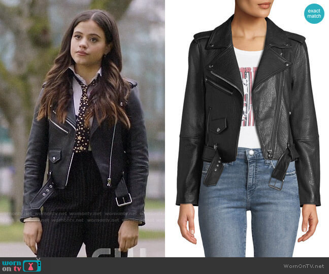 Current/Elliott The Shaina Leather Biker Jacket  worn by Maggie Vera (Sarah Jeffery) on Charmed