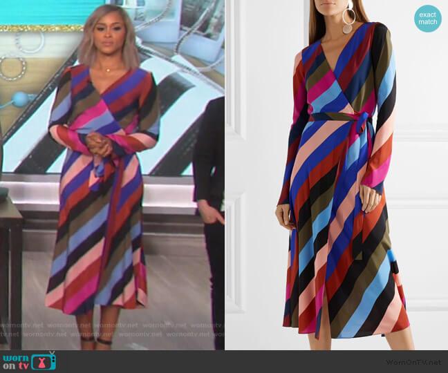Stripe Silk Wrap Midi Dress by Diane von Furstenberg worn by Eve (Eve) on The Talk